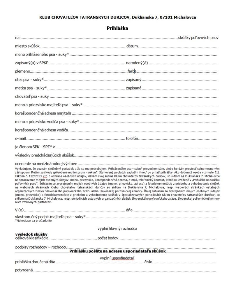 Prihláška na podujatia organizované KCHTD