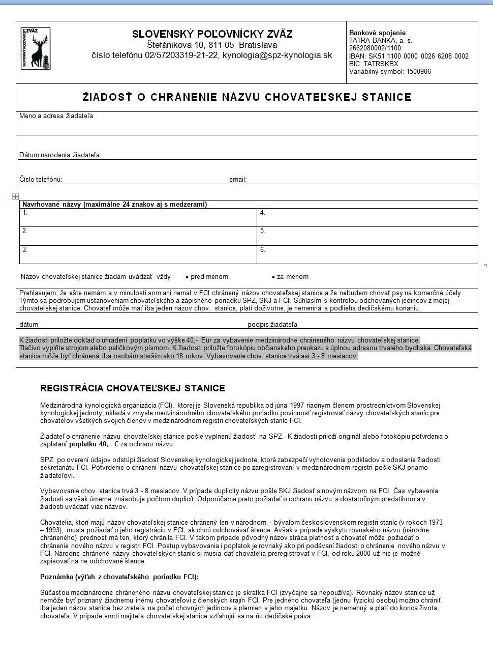 Žiadosť o chránenie názvu chovateľskej stanice